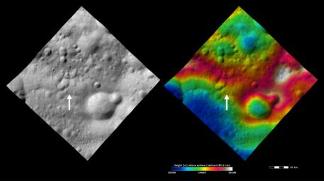 These images from NASA's Dawn spacecraft show Claudia crater (marked by an arrow) and its surroundings. Claudia crater is the crater which is used to define 0� longitude on asteroid Vesta.