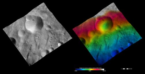 These images from NASA's Dawn spacecraft show Urbinia crater on asteroid Vesta. Urbinia crater is distinctive because is has an irregularly shaped rim due to the formation of other impact craters along its rim and then subsequent erosion.