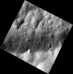 This image, one of the first obtained by NASA's Dawn spacecraft in its low altitude mapping orbit, shows a part of one of the troughs at the equator of the giant asteroid Vesta.