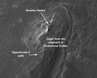 NASA's Mars Exploration Rover Opportunity will spend its fifth Martian winter working at a location informally named 'Greeley Haven.' This image indicates the location of Greeley Haven on Cape York.