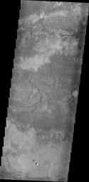 The volcanic flow in this image from NASA's 2001 Mars Odyssey spacecraft appears to have flowed in one layer. The surface texture is blocks of lava which cooled and still moved on molten lava below, producing the plate-like texture.