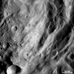 This image from NASA's Dawn spacecraft shows some of the undulating terrain in asteroid Vesta's southern hemisphere.