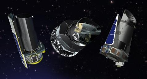 From left to right, artist's concepts of the Spitzer, Planck and Kepler space telescopes. NASA extended Spitzer and Kepler for two additional years; and the U.S. portion of Planck, a European Space Agency mission, for one year.