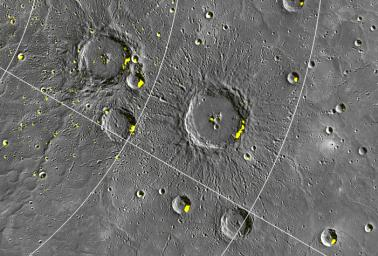 Close-up of Craters Hosting Radar-bright Deposits