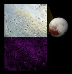 NASA's New Horizons scientists have spotted an expanse of terrain they describe as 'fretted' (bright plains divided into polygon-shaped blocks by a network of dark, connected valleys) in Pluto's informally named Venera Terra region.