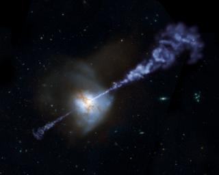 Herschel Space Observatory has shown that galaxies with the most powerful, active, supermassive black holes at their cores produce fewer stars than galaxies with less active black holes in this artist concept.