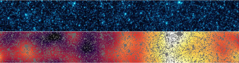 Astronomers have uncovered patterns of light that appear to be from the first stars and galaxies that formed in the universe. The light patterns were hidden within a strip of sky observed by NASA's Spitzer Space Telescope.