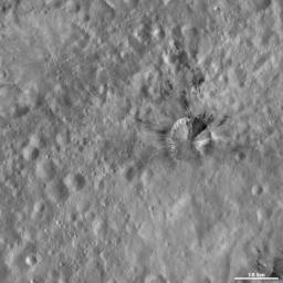 This image from NASA's Dawn spacecraft of asteroid Vesta shows Rubria crater, with dark and bright material, offset from the center of the image. Rubria crater is located in Vesta's Gegania quadrangle, just south of Vesta's equator.