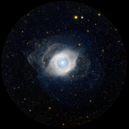 NGC 7293, better known as the Helix nebula, displays its ultraviolet glow courtesy of NASA's GALEX. The Helix is the nearest example of a planetary nebula, which is the eventual fate of a star, like our own Sun, as it approaches the end of its life.