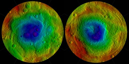 This image from NASA's Dawn mission shows the topography of the northern and southern hemispheres of the giant asteroid Vesta, updated with pictures obtained during Dawn's last look back.