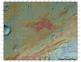 The area where NASA's Curiosity rover will land on Aug. 5 PDT (Aug. 6 EDT) has a geological diversity that scientists are eager to investigate, as seen in this false-color map based on data from NASA's Mars Odyssey orbiter.