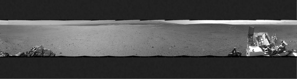 NASA's Mars rover Curiosity drove about 70 feet (about 21 meters) on the mission's 21st Martian day, or sol (Aug. 30, 2012) and then took images with its Navigation Camera that are combined into this scene, which inclues the fresh tracks.