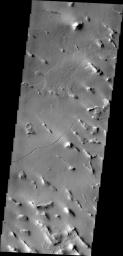 Isolated hills and a small channel are visible in this image of Gigas Sulci captured by NASA's 2001 Mars Odyssey spacecraft . Gigas Sulci is located southeast of Olympus Mons.