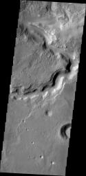 The channel in this image from NASA's 2001 Mars Odyssey spacecraft is located in northern Terra Sabaea and runs semi-parallel to Auqakuh Vallis.