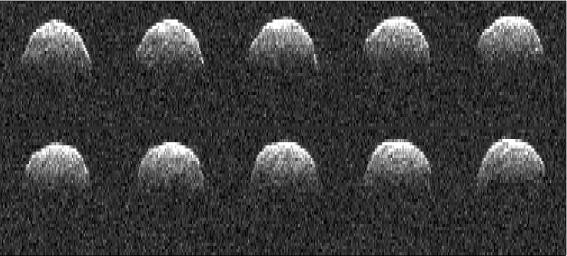 This radar image of asteroid 1999 RQ36 was obtained NASA's Deep Space Network antenna in Goldstone, Calif. on Sept 23, 1999. NASA detects, tracks and characterizes asteroids and comets passing close to Earth using both ground- and space-based telescopes.