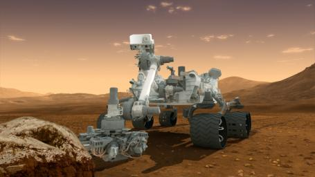 This artist's concept features NASA's Mars Science Laboratory Curiosity rover, a mobile robot for investigating Mars' past or present ability to sustain microbial life.