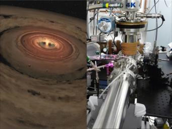 Researchers are brewing up icy, organic concoctions in the lab to mimic materials at the edge of our solar system and beyond. The lab is shown at right, and a very young solar system, with its swirling planet-forming disk is at left.