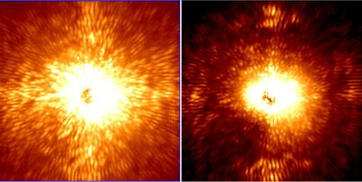These two images show HD 157728, a nearby star 1.5 times larger than the sun. Project 1640 uses new technology on the Palomar Observatory's 200-inch Hale telescope near San Diego, Calif., to spot planets.