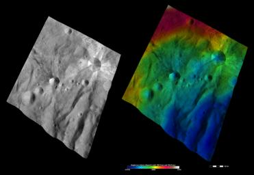 These images from NASA's Dawn spacecraft are located in asteroid Vesta's Urbinia quadrangle, in Vesta's southern hemisphere.