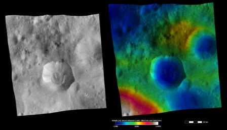 These images from NASA's Dawn spacecraft are located in asteroid Vesta's Numisia quadrangle, in Vesta's southern hemisphere.