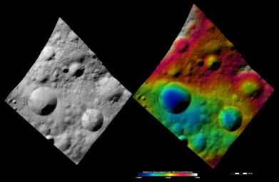 These images from NASA's Dawn spacecraft are located in asteroid Vesta's Lucaria Tholus quadrangle, in Vesta's northern hemisphere.