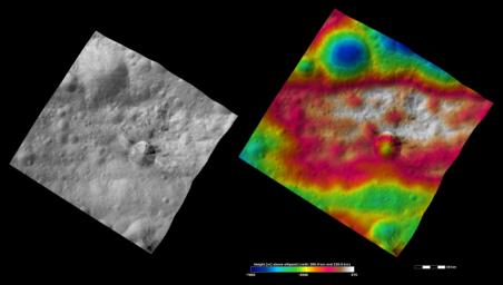 These images from NASA's Dawn spacecraft are located in asteroid Vesta's Gegania quadrangle, just south of Vesta's equator. Rubria is the crater with dark and bright material above Divalia Fossa and Occia is the crater with bright and dark material below.