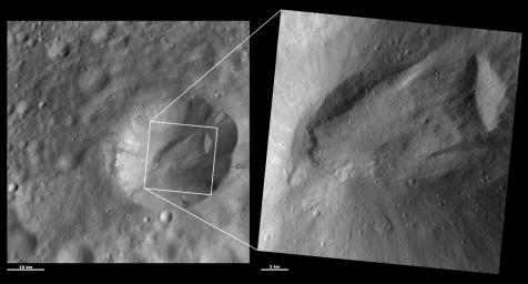 These images from NASA's Dawn spacecraft are located in asteroid Vesta's Marcia quadrangle, a few degrees below Vesta's equator. Octavia Crater looks remarkably like a terrestrial landslide.
