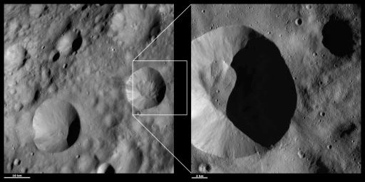 These images from NASA's Dawn spacecraft are located in asteroid Vesta's Lucaria Tholus quadrangle, in Vesta's northern hemisphere; the fine-scale of streaks of bright and dark material can be seen originating from the rim of Publicia crater.