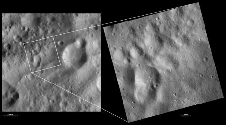 These images from NASA's Dawn spacecraft are located in asteroid Vesta's Oppia quadrangle, just south of Vesta's equator; Claudia was chosen to anchor the coordinate system for Vesta used in the scientific investigations of the Dawn team.
