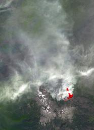 This image, acquired by NASA's Terra spacecraft, is of the Pole Creek fire southwest of Sisters, Ore., which had grown to 24,000 acres as of Sept. 20, 2012. No structures have been destroyed, and the fire is mostly confined to the national forest.