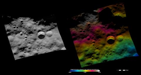 These apparent brightness and topography images from NASA's Dawn spacecraft are located in asteroid Vesta's Bellicia quadrangle, in Vesta's northern hemisphere.