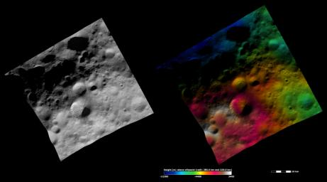 These images from NASA's Dawn spacecraft are located in Vesta's Numisia quadrangle, in Vesta's northern hemisphere.