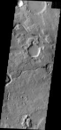 The channels in this image captured by NASA's Mars Odyssey spacecraft are located between Ares Vallis, a large channel, and Siinka Vallis, a much smaller channel.