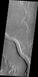 The channel in this image captured by NASA's Mars Odyssey spacecraft is called Hrad Vallis. Hrad Vallis is located on the northwestern margin of the Elysium volcanic complex.