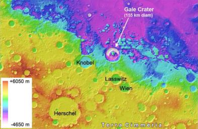 Gale Crater on Mars, where NASA's Curiosity rover is set to land, belongs to a family of large, very old craters shown here on this elevation map. The data come from the Mars Orbiter Laser Altimeter instrument on NASA's Mars Global Surveyor.