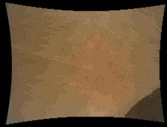 This color thumbnail image was obtained by NASA's Curiosity rover illustrating the first appearance of the left front wheel of the Curiosity rover after deployment of the suspension system as the vehicle was about to touch down on Mars.