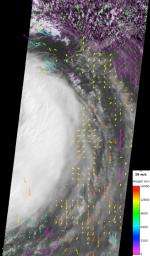NASA's Terra spacecraft recorded low-level wind speeds of up to 75 miles per hour (65 knots) from cloud motion observed outside Tropical Storm Isaac's eye. The spacecraft flew over Isaac a few hours before Isaac was upgraded to a Category 1 hurricane.