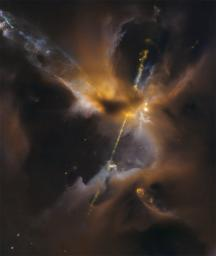In the center of this image from the Hubble Space Telescope, partially obscured by a dark cloud of dust, a newborn star shoots twin jets out into space as a sort of birth announcement to the universe.