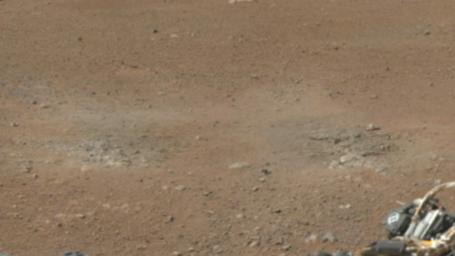 This cut-out from a color panorama image taken by NASA's Curiosity rover shows the effects of the descent stage's rocket engines blasting the ground. It comes from the left side of the thumbnail panorama obtained by Curiosity's Mast Camera.