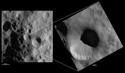 These images from NASA's Dawn spacecraft are located in asteroid Vesta's Numisia quadrangle, in Vesta's northern hemisphere. The bottom part of the rim of Fabia crater is much fresher than the top part of the rim.