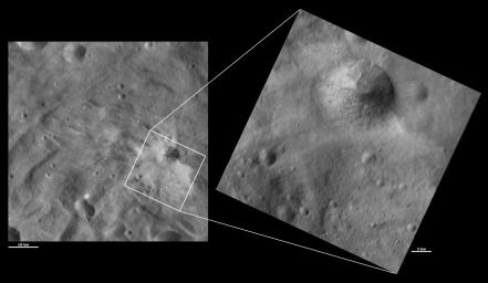 These images from NASA's Dawn spacecraft are located in asteroid Vesta's Urbinia quadrangle, in Vesta's southern hemisphere. The mottled appearance of the slump and small gullies around the fresh rim of the crater.