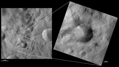 These images from NASA's Dawn spacecraft are located in asteroid Vesta's Sextilia quadrangle, in Vesta's southern hemisphere. The dark rays of the small crater to the bottom right of Laelia are particularly spectacular in the right image.