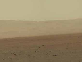 This color image from NASA's Curiosity rover shows part of the wall of Gale Crater, the location on Mars where the rover landed. This is part of a larger, high-resolution color mosaic made from images obtained by Curiosity's Mast Camera.