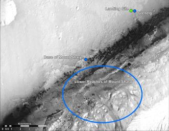 This image shows the landing site of NASA's Curiosity rover and destinations scientists want to investigate. Curiosity landed inside Gale Crater on Mars on Aug. 5 PDT (Aug. 6 EDT) at the green dot, within the Yellowknife quadrangle.
