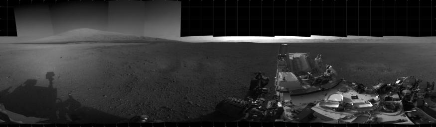 With the addition of four high-resolution Navigation Camera, or Navcam, images, taken on Aug. 18 (Sol 12), Curiosity's 360-degree landing-site panorama now includes the highest point on Mount Sharp visible from the rover.