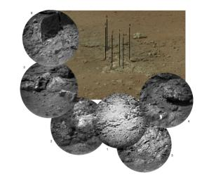 This photo mosaic shows the scour mark, dubbed 'Goulburn,' left by the thrusters on the sky crane that helped lower NASA's Curiosity rover to the Red Planet.