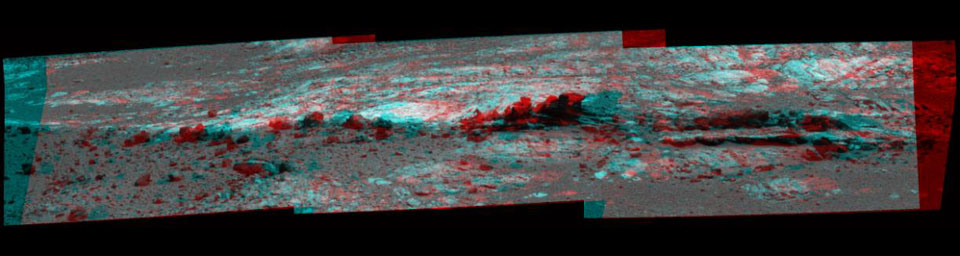 Rock fins up to about 1 foot (30 centimeters) tall dominate this stereo scene from the panoramic camera (Pancam) on NASA's Mars Exploration Rover Opportunity taken during the 3,058th Martian day (Aug. 23, 2012).