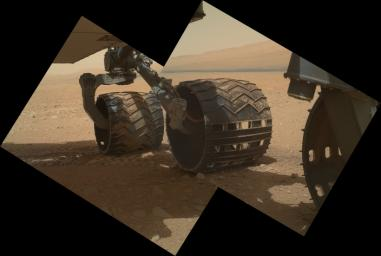 This view of the three left wheels of NASA's Mars rover Curiosity combines two images that were taken by the rover's Mars Hand Lens Imager (MAHLI) during the 34th Martian day, or sol, on Mars (Sept. 9, 2012).