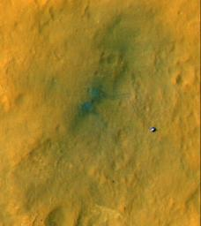 Tracks from the first drives of NASA's Curiosity rover are visible in this image captured by the High-Resolution Imaging Science Experiment (HiRISE) camera on NASA's Mars Reconnaissance Orbiter. The rover is seen where the tracks end.