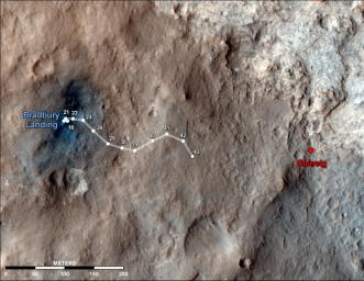 This map shows the route driven by NASA's Mars rover Curiosity through the 43rd Martian day, or sol, of the rover's mission on Mars (Sept. 19, 2012). The route starts where the rover touched down, a site subsequently named Bradbury Landing.
